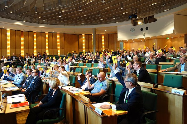 View of a vote of elected representatives in the Extended Chamber Assembly